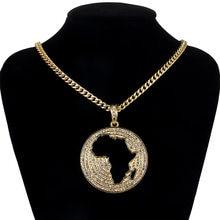 Moda redonda áfrica mapa pingente colares mulheres hip hop jóias 2019 na moda longa corrente de ouro metal strass colar presentes