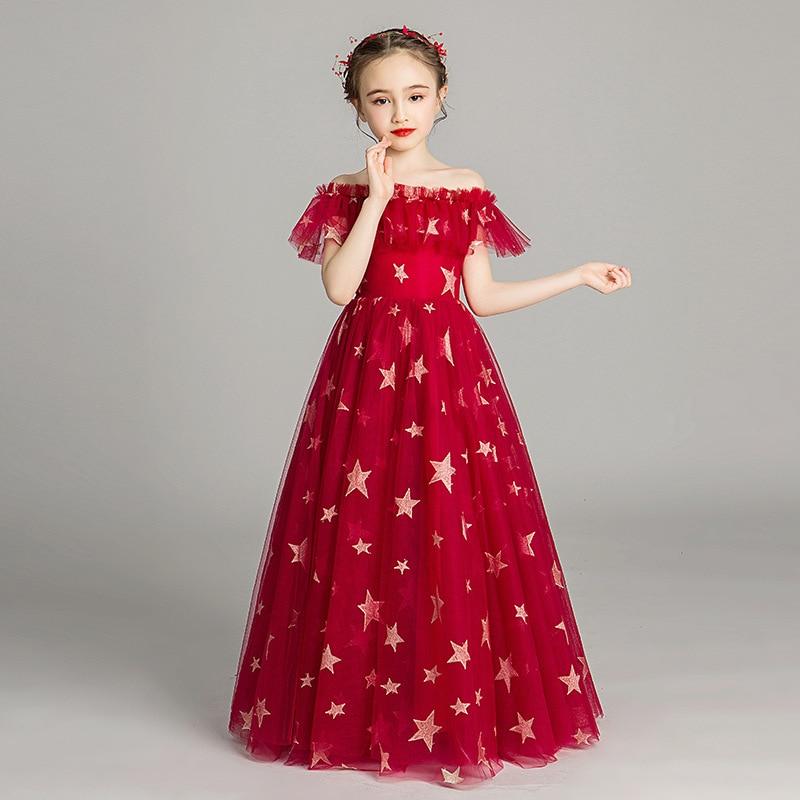 CHILDREN'S Dress Princess Dress Flower Boys/Flower Girls Wedding Dress Girls Off-Shoulder Puffy Yarn Western Style Host Piano Co
