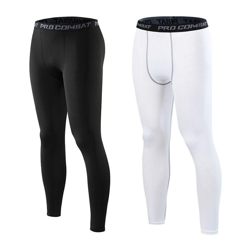 Compression Pants Men Tight Leggings Thin Elastic Bottom Solid Color Underpants