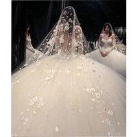 Luxurious Bling Bling Pearls Lace Rhinestone Beaded Bridal Long Wedding Veil Dubai Bride's Headdress Cathedral Headwear