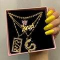 Новинка, многослойные подвески в виде бабочки, дракона, хрустальные ожерелья для женщин, панк, золотой ангел, буквы, цепочка для ключицы, хип-...
