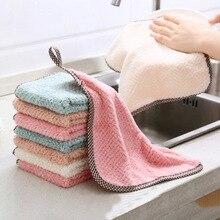 цена на 2 Pcs Hanging Coral Fleece Towel Kitchen Cleaning Towel Square Dish Cloth Super Water Absorbent Towel