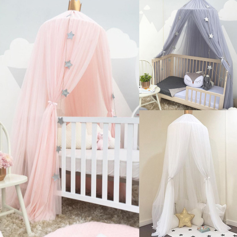 Mosquito Net with FREE Stars Hanging Tent Baby Bed Crib Canopy Tulle Curtains for Bedroom Play House Tent for Children Kids Room(China)