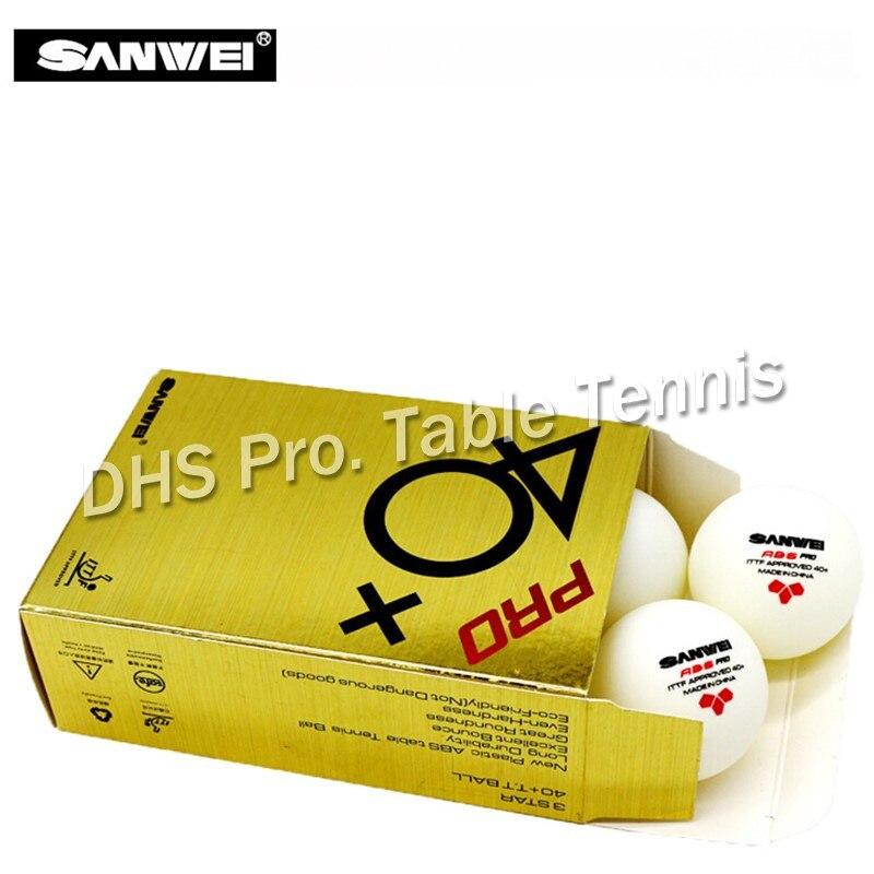 2019 SANWEI 3 étoiles ABS 40 + PRO balle de Tennis de Table ITTF approuvé nouveau matériau plastique Poly balles