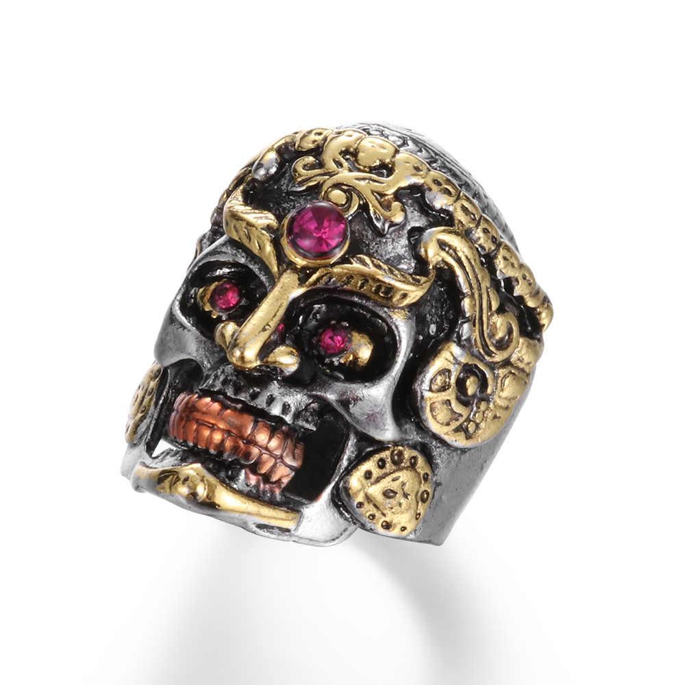Unique Cool สแตนเลสสตีล Heavy น้ำตาล Gothic Punk Skull แหวนคริสตัล Zircon Eye Mens Mandala ดอกไม้ Santa Muerte BIKER เครื่องประดับ