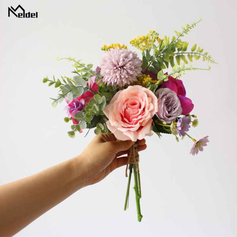 Artificial Rose Peony Hydrangea Flowers Bouquet Silk Flowers Bride Bouquets Fake Rose For Wedding Home Garden Decor Fabric Flore