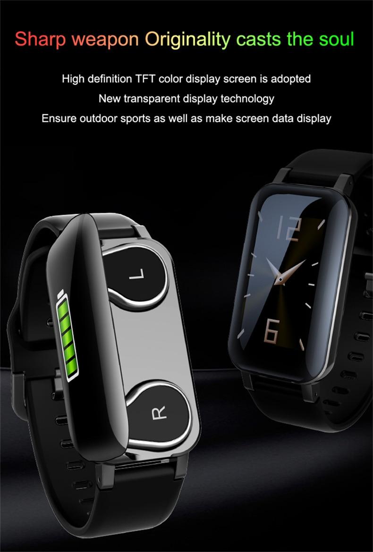 2in1 relógio inteligente com bluetooth 5.0 tws