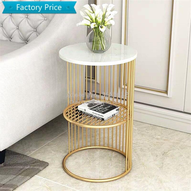 Nordique Simple Table basse en fer doré avec marbre Table salon minimaliste lit fer petite Table canapé étagère 30*55cm