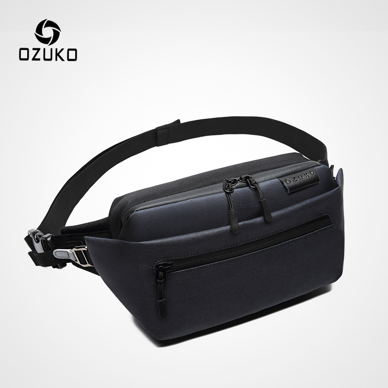 OZUKO Waterproof Men Waist Bag Fanny Pack Shoulder Belt Bag Male Phone Pouch Bags Travel Waist Pack Small Running Sport Bolso