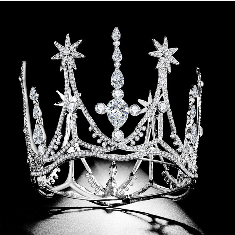 HG11372 Classic Baroque round tiara crown elegant gold rhinestone crown fashion princess bridal wedding headpiece for brides
