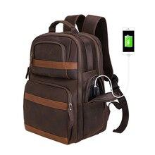 Кожаный рюкзак Tiding 15,6 дюймов, рюкзак для ноутбука, винтажная деловая дорожная сумка, Большая вместительная школьная сумка с зарядкой от usb