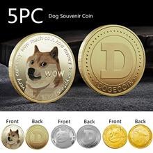 5pc dogecoin moeda comemorativa animal distintivo banhado a ouro desafio arte moeda banhado a ouro dogecoin moedas comemorativas decoração presente