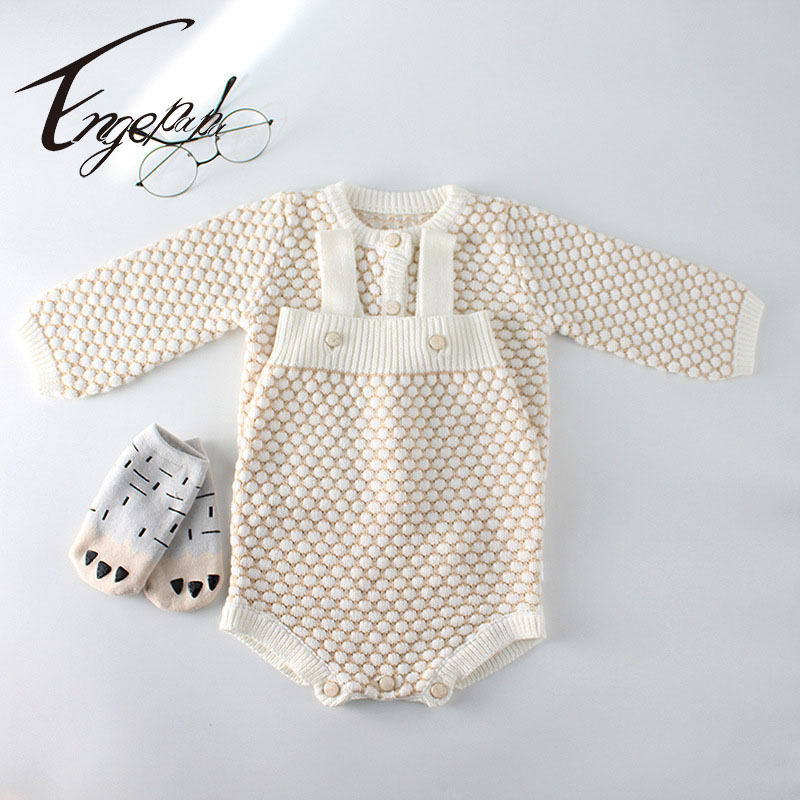 Engepapa Korean Style Spring Autumn Toddler Girls Clothing Sets Knitted Cardigan Coat+Rompers Baby Girls Knitting Clothes Set