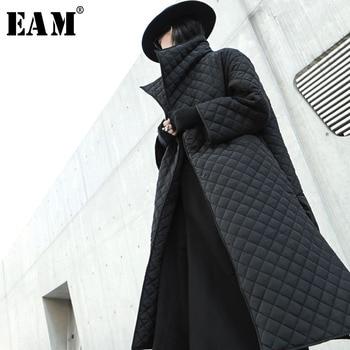 EAM Black Big Size Long Cotton padded Coat Long Sleeve Loose Fit Women Parkas