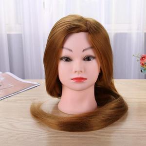 Image 5 - 理髪トレーニングヘッド本物の人間の髪の人形美容マネキンヘッド美容マネキン