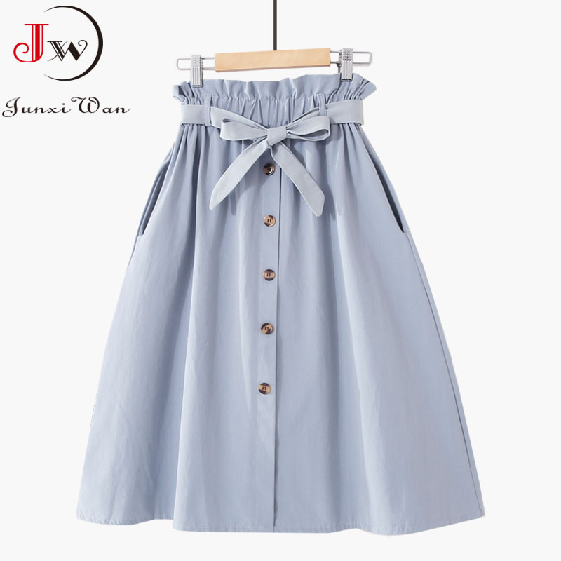 Women Casual Cotton Skirts 2021 Spring Summer Korean Style Solid Elegant High Waist Single-Breasted Bow Lace Up A-Line Midi Skir 4