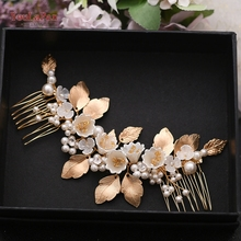 YouLaPan Floral Bridal Hair Piece Hair Combs for Wedding Bridal Hair Comb Wedding Hair Clip Alloy Leaf  Hair Jewelry HP315 jonnafe boho gold leaf bridal hair comb wedding headband hair accessories freshwater pearls women jewelry hair piece
