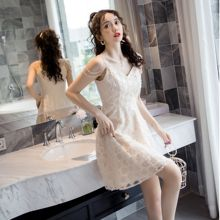 COIGARSAM Sexy Lace Women dress New Summer Backless Spaghett