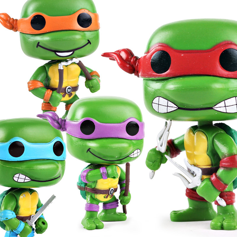 Joint Mobile Teenage Mutant Ninja Turtles Garage Kit Model Children's Toys Anime Doll Adult Decoration Pop Full Set Boxed