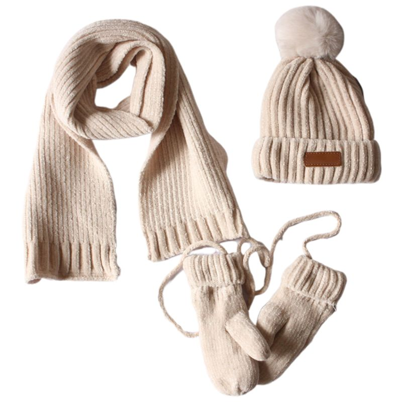 3 In 1 Toddler Kids Winter Ribbed Knit Warm Pompom Beanie Hat Scarf Gloves Set