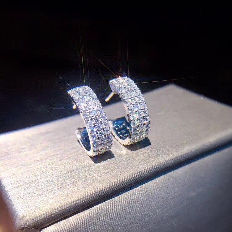 Luxurious 925 Sterling Silver Earrings Three Row 1.25ct Cz Zircon Crystal Stud Earrings For Women Oorbellen Brincos Pendientes