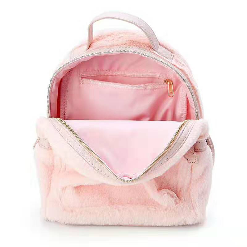 Image 3 - Cinnamoroll My Melody Small Plush Backpack Cute Cartoon Ears Pink  Leather Back Pack Mini Backpack for Teenage Girls KnapsackBackpacks