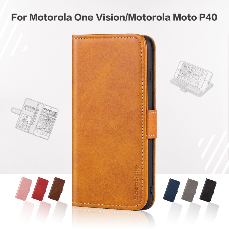 Flip Cover For <font><b>Motorola</b></font> One <font><b>Vision</b></font> Business <font><b>Case</b></font> Leather Luxury With Magnet Wallet <font><b>Case</b></font> For <font><b>Motorola</b></font> Moto P40 Phone Cover image
