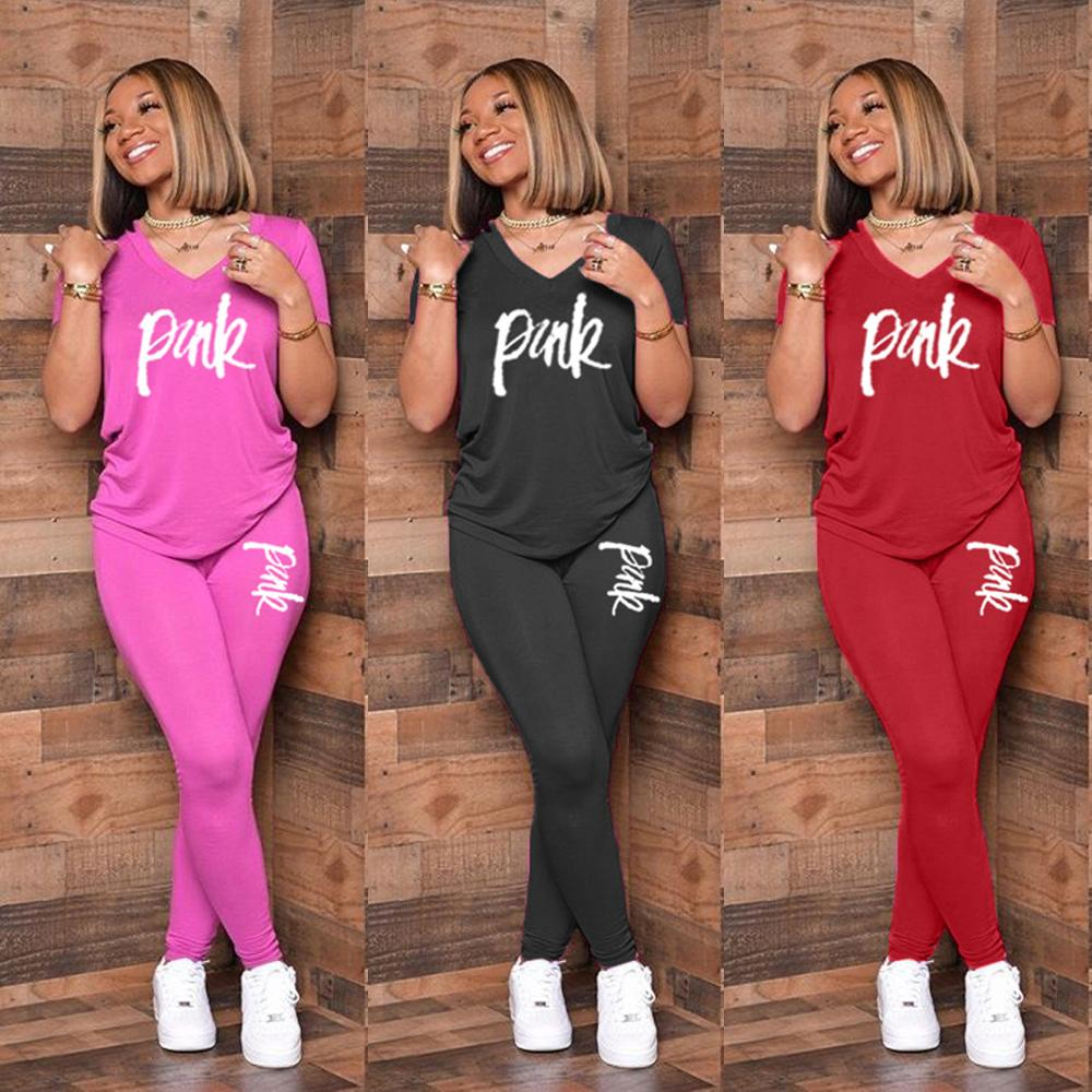 2020 New Women Pink Letter Print Two Pieces Suits Sets T-Shirt + Biker Pants Outfits 2 Piece Set Fitness Women Summer Tracksuits