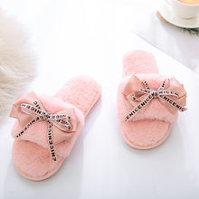 Plush house slippers for women with faux fur warm shoes for women slippers on the flats cute bowtie plus size female slippers 41(China)
