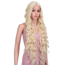 Bella 40 Polegada peruca longa onda profunda fibra de alta temperatura rosa loira 613 preto marrom 9 cores frente do laço perucas sintéticas para mulher
