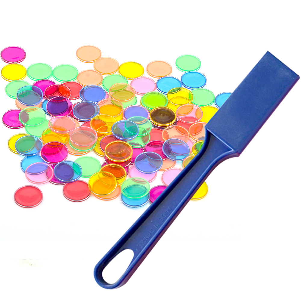 Kids Montessori 1PC Magnetic Stick Wand+100PCS Transparent Round Metal-Ring Bingo Chip Counting Cognitive Learning Math Toy