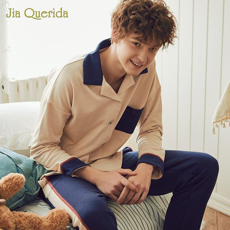 Pajama Sets Pajamas For Men Sleepwear Chinese Pajamas  Front Pocket Long Sleeve Long Pants Turn Down Collar Homesuit Pj Set