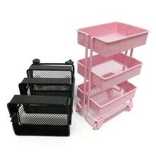 Gorący Mini wózek podłogowy regał magazynowy z kółkami Dollhouse miniaturowe meble półka