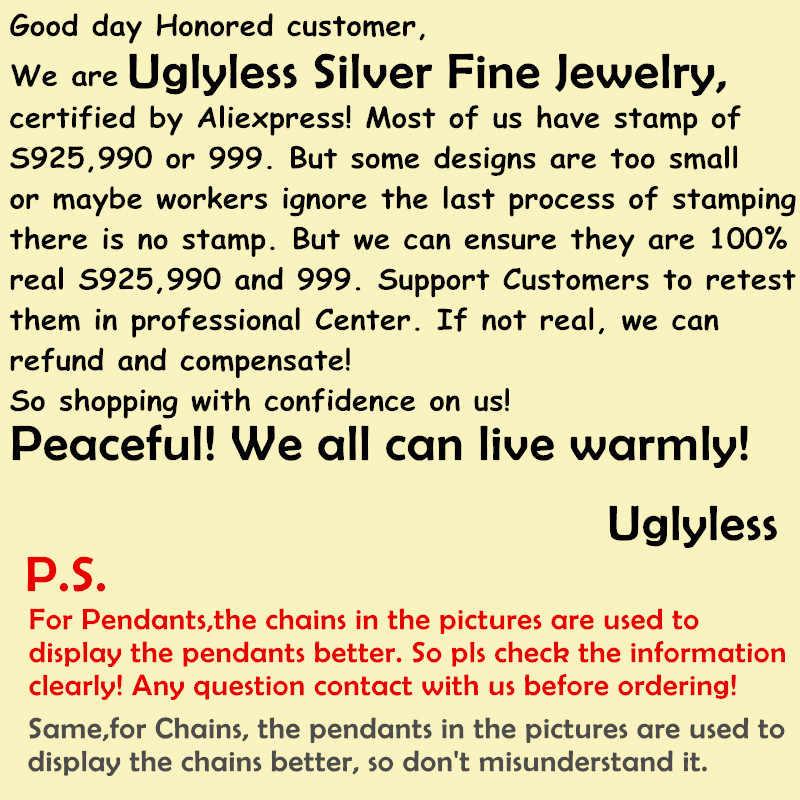 Uglyless פשוט מעצב סוכר קוביית תליונים + שרשרות זהב מצופה אמיתי 925 כסף כיכר שרשראות אגת תכשיטים אבני חן P771