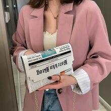 Trend Hülle Tasche Frauen 2020 Neue Persönlichkeit Inkjet Zeitung Kupplung Tasche Wilden Schulter Messenger Tasche Kette Abend Tasche