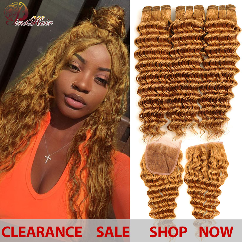 Peruvian Hair Deep Wave 3 Bundles With Closure Honey Blonde 27 Color Human Hair Bundles With Closure No Tangle Pinshair Non-remy