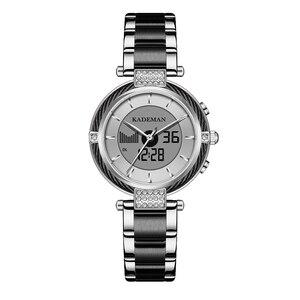 Image 2 - KADEMAN Luxury Crystal Watch LED Display Women Top Brand Stainless Steel Ladies Wrist Watches Bracelet Clock Relogio Feminino