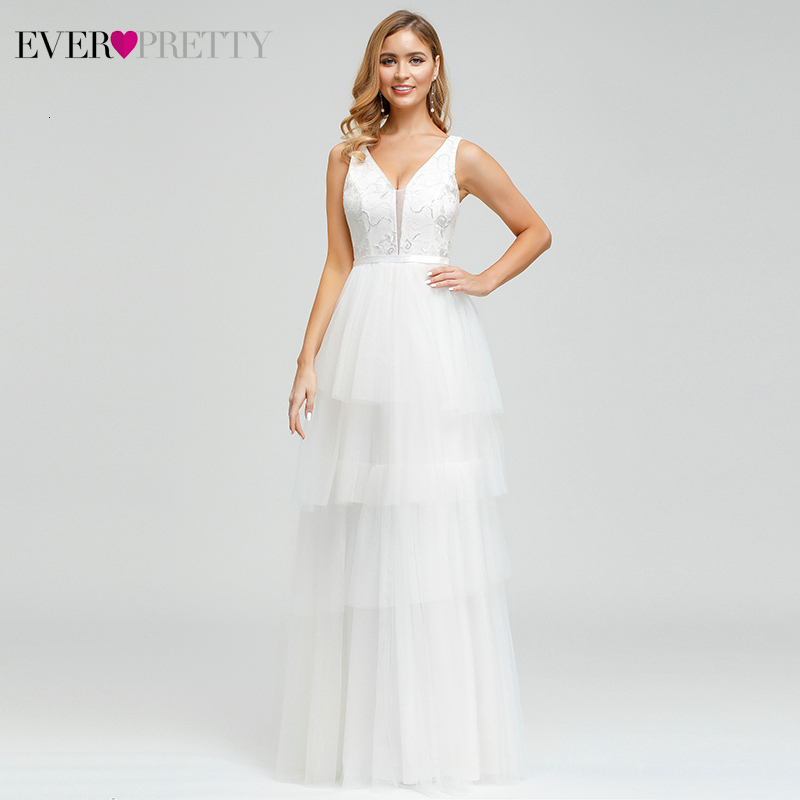 Sexy Layered Wedding Dresses Ever Pretty EP00869WH A-Line Double V-Neck Sequined Embroidery Lace White Bride Gowns Trouwjurk