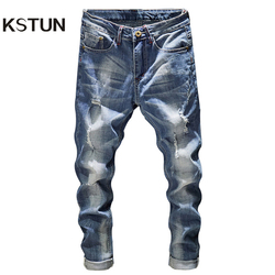 Ripped Jeans Men Slim Fit Light Blue Stretch Fashion Streetwear Frayed Hip Hop Distressed Casual Denim Jeans Pants Male Trousers