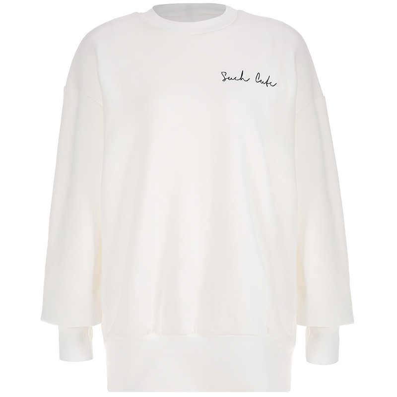 シンプルな手紙刺繍ロング暖かいパーカー厚みのベルベットスウェットドレス O ネック 2019 冬ドレスストリート Sudaderas Mujer