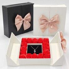 Новинка 2021 коробка из 16 роз с искусственными цветами ожерелье кольцо Ювелирная коробка для подруги на день рождения свадьбу подарок на день...