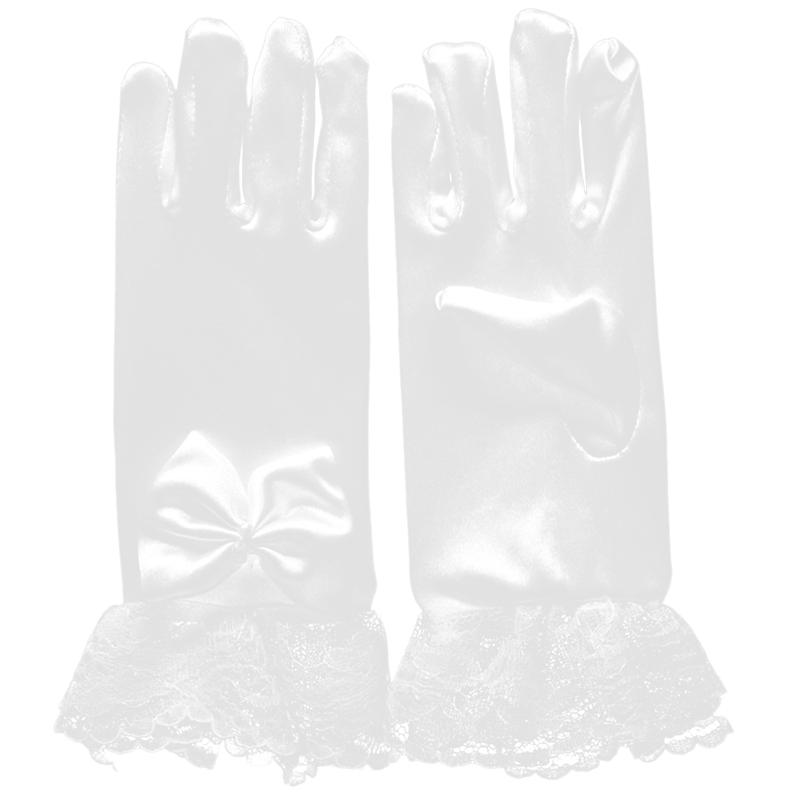 Flower Girl Gloves Short Satin Bow Wedding Kindergarten Birthday Party Pupils Show Dress Gloves For Age 8-12
