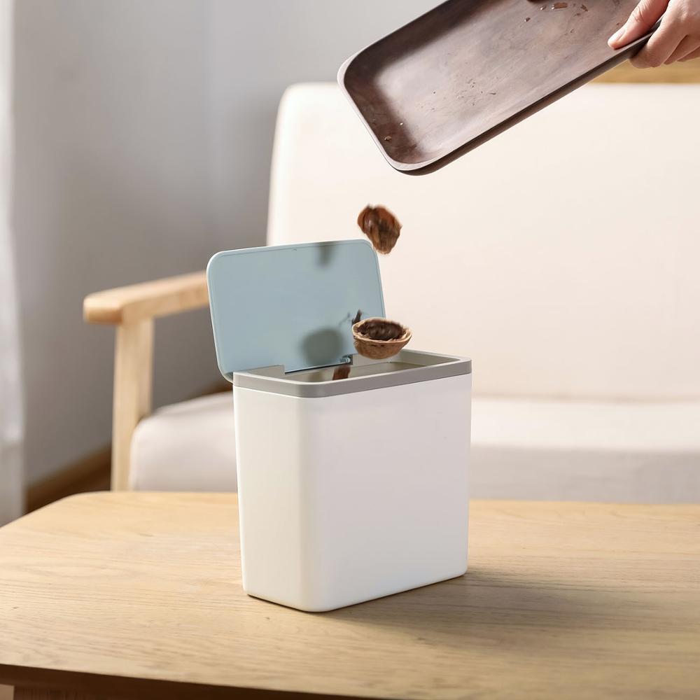 Ev ve Bahçe'ten Atık Kovaları'de Mini çöp kutusu masaüstü küçük çöp sepeti masa çöp tenekesi ev ofis çeşitli eşyalar organizatör çöp kovası konteyner kutusu title=