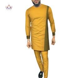 Bazin Riche Mannen 2 Stuks Broek Sets Afrikaanse Ontwerp Kleding Afrikaanse Kleding Casual Mannen Lange Top Shirts en Broek Sets WYN684