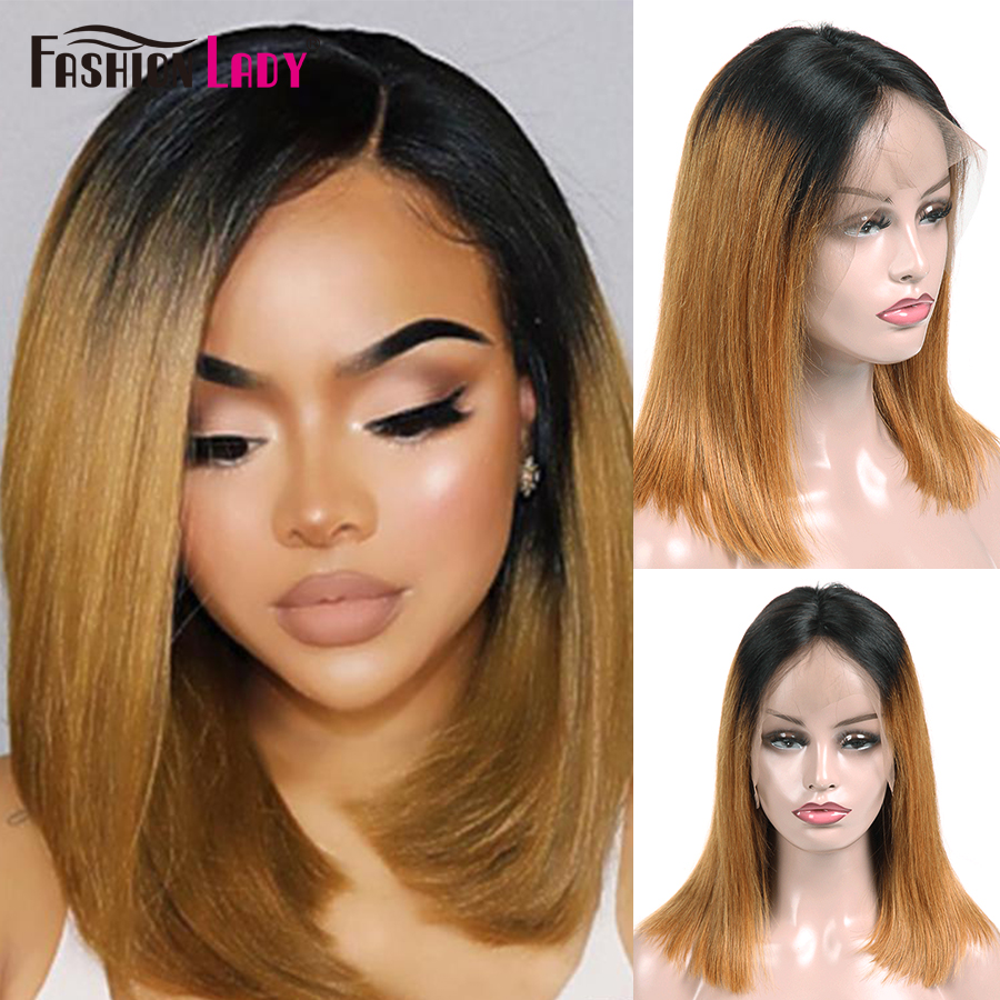 Fashion Lady Pre-Colored Ombre Blonde Lace Front Human Hair Wigs 1b/27 Bob Lace Front Wigs For Women