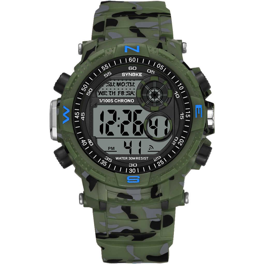 SYNOKE Sports militaires hommes montres numériques Camouflage rétro-éclairage étanche antichoc relogio masculino montre numérique