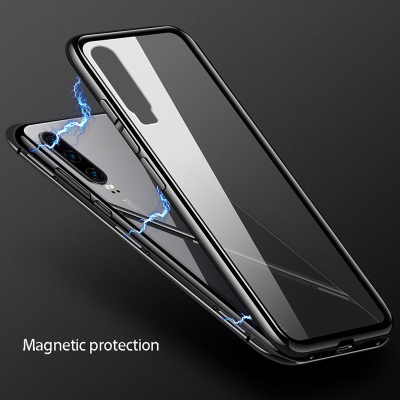Metal Magnetic Adsorption <font><b>Back</b></font> One-sided <font><b>Glass</b></font> Phone Case <font><b>Cover</b></font>,For Samusng galaxy <font><b>A7</b></font> 2018 Metal Frame phone Protective Cases image