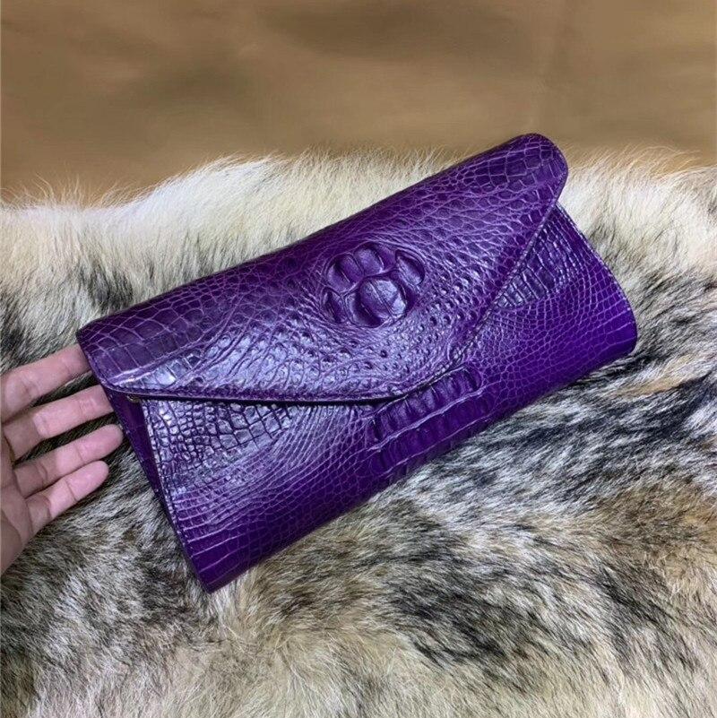 Authentic Crocodile Leather Women's Envelop Clutch Female Card Purse Genuine Alligator Skin Silver Chain Strap Lady Shoulder Bag