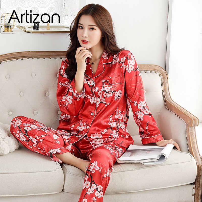 Satin Sutra Piyama untuk Wanita Set Piyama Tombol Pigiama Donna Pjs Musim Dingin Mujer Pijama Baju Tidur Pizama Damska 2 buah