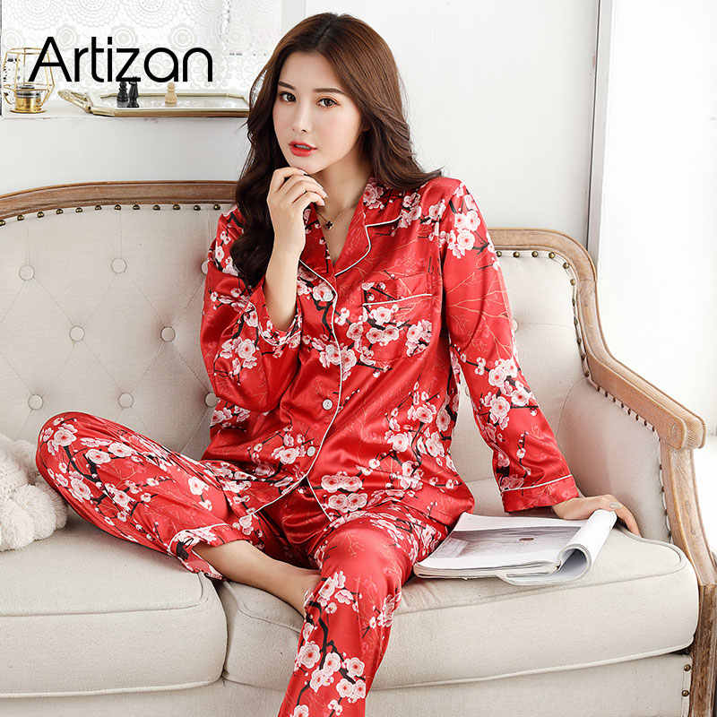 여성용 새틴 실크 잠옷 긴 소매 단추 pigiama donna pjs estivo mujer pijama 잠옷 nightwear lounge wear 2 pcs